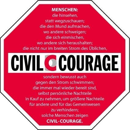Civil-Courage: Stop Schild DIN A2